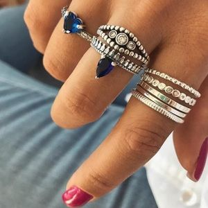 ♡ Blue Heart Midi Rings Set ♡